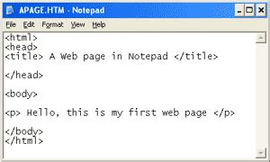 how to create a website using html in notepad