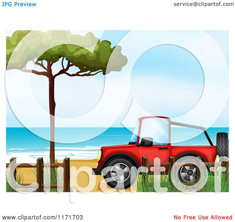 beach jeep clipart cartoon of a red jeep on a beach royalty free vector