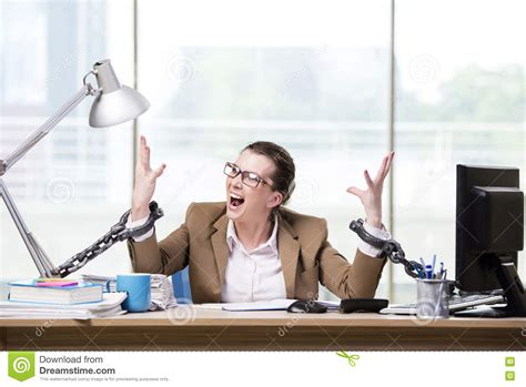 Chained To The Desk by The Chained To Working Desk Stock Photo Image 78638990