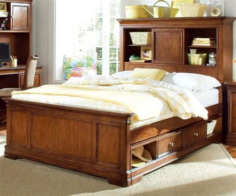 the awesome design of size storage bed with bookcase