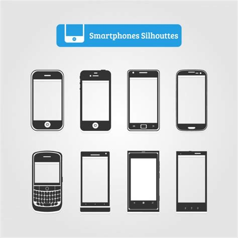 smart mobile phone smartphone silhouette collection vector free