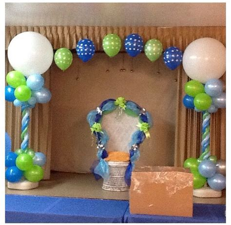 balloon decoration ideas for a baby shower baby shower balloon column balloon arch green blue decor event