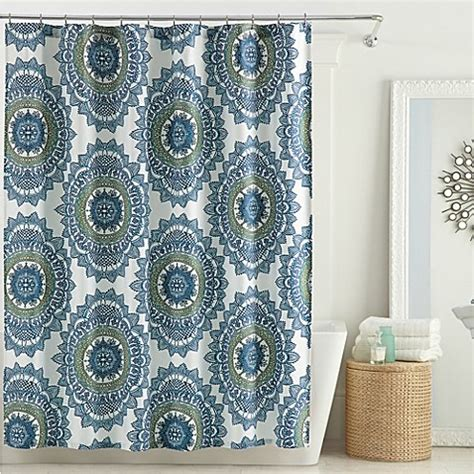 teal bathroom curtains anthology bungalow shower curtain in teal bed bath beyond