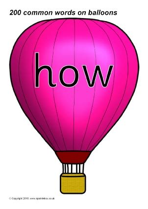 high frequency sight words on hot air balloons sparklebox