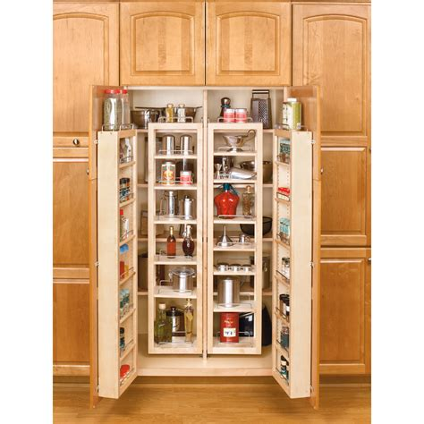 kitchen organisers shop rev a shelf 57 in wood swing out pantry kit at lowes com