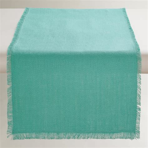 aqua blue table runner oversized aqua herringbone table runner market
