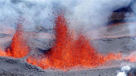 volcano erupts  frances reunion island