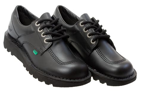 shoes kickers kickers kick lo m mens black leather school shoes