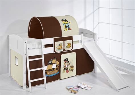 childrens cabin bed midsleeper with slide 4106 by lilokids