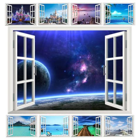 space bedroom stickers fantastic window space landscape castle sea wall stickers