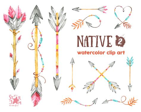 native 2 arrows watercolor clipart indian feathers