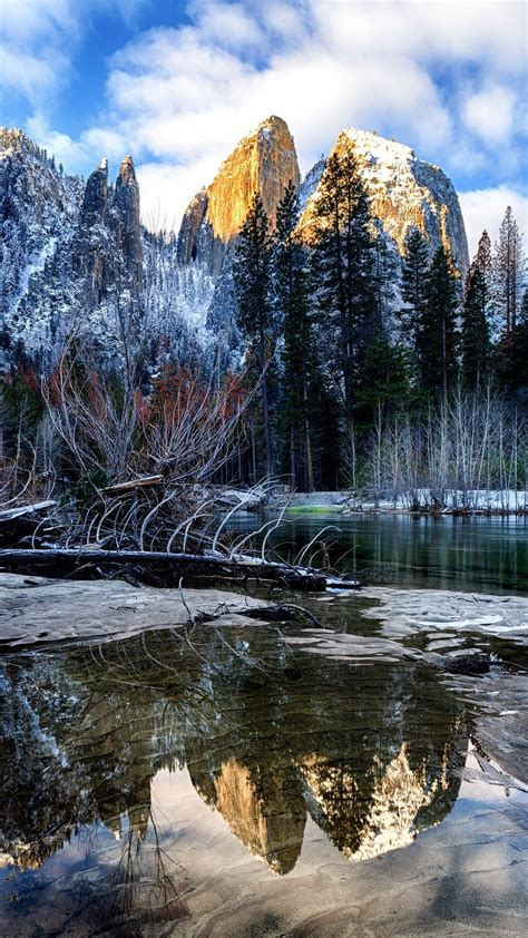 wallpaper winter river trees mountains snow yosemite