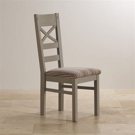 St Ives Dining Chair In Grey Painted Acacia Striped Fabric Grey Striped Dining Chairs