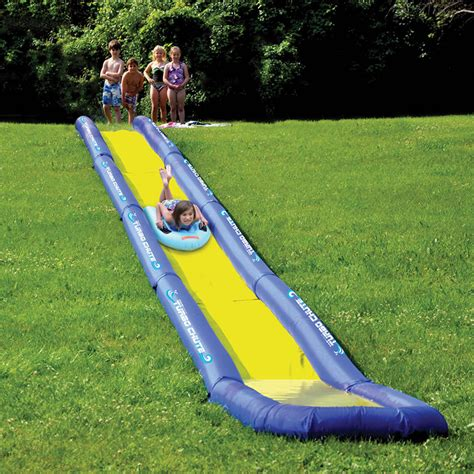 backyard water slides for adults turbo chute world s longest backyard water slide the