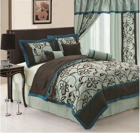 teal and brown comforter set 7pc faux silk bamboo nod aqua blue teal brown flocking