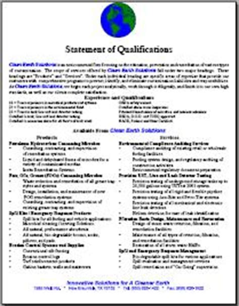 statement of qualifications template resources
