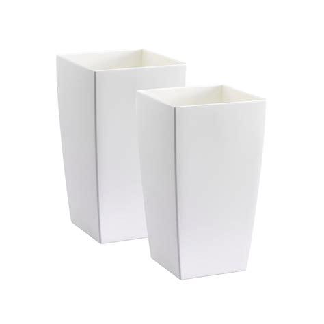 vasi alti plastica set di 2 vasi alti bianchi in plastica riciclabile al 100