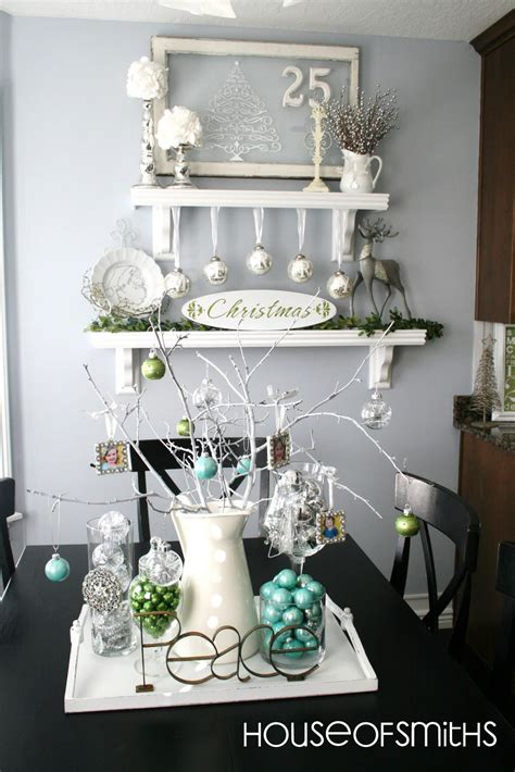 bookcase christmas decorating ideas blue green white and silver christmas decorating ideas