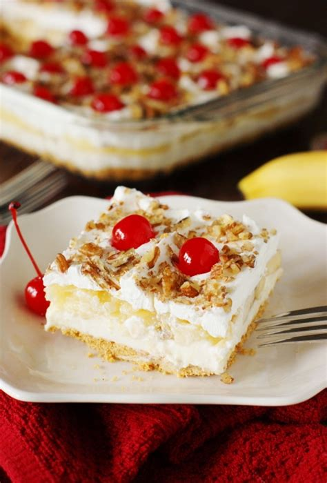 No Bake Banana Split Dessert No Bake Banana Split Cake The Kitchen Is My Playground