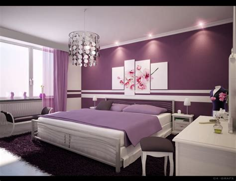 Ideas For Room Decor Bedroom Decoration For Room Ideas Purple Wall Paint Chandelier Bench White
