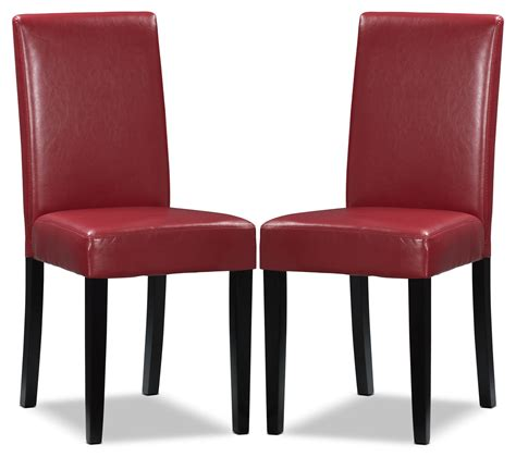 faux leather dining room chairs red faux leather accent dining chair set of 2 the brick