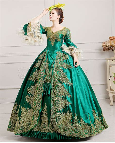 Dress Princess X Luxe aliexpress buy luxury green embroidery golden flowers lace dress renaissance gown