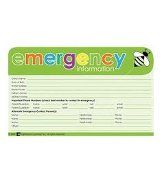 printable emergency card template a printable checklist for handling incoming child care