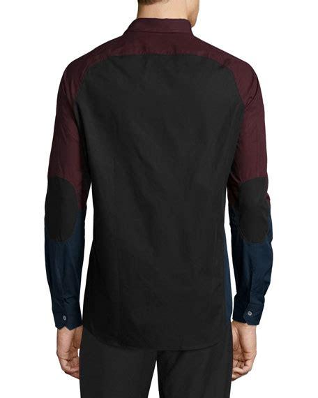 White Ergo Button Shirt opening ceremony ergo colorblock woven dress shirt black