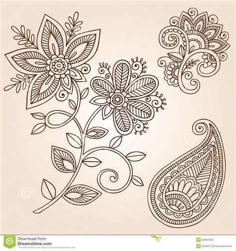 henna tattoo designs eps mandala hooking paisley