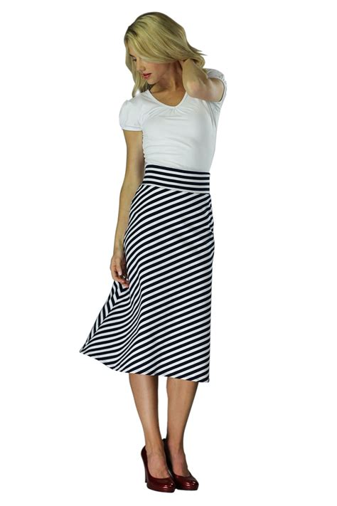 knit a line skirt modest midi skirts in black and white stripes