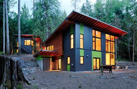 Tin Shed House Design by Mixed Siding Blue Corrugated Metal Smooth Green