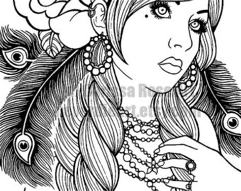 tattoo flash coloring pages gypsy girl etsy