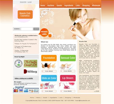 Ready Cosmetic Site Free Website Templates Cosmetic Website Templates