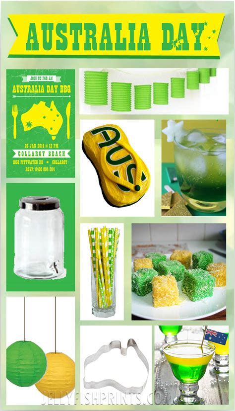 australia day inspiration green and gold jellyfish prints