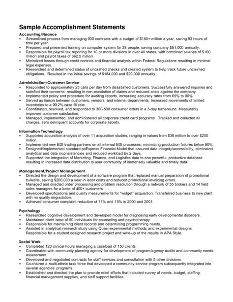 professional accomplishments resume exles exles of accomplishments for a resume sles of resumes