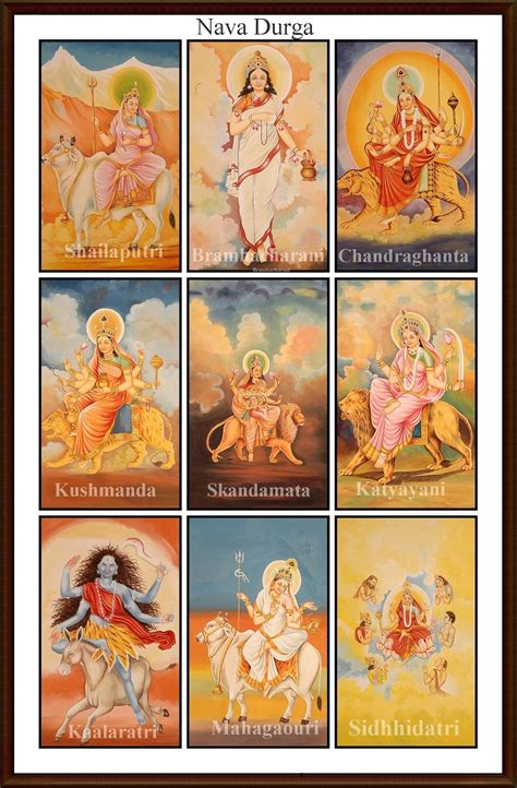 Decoration For Navratri At Home by Aadi Shakti Nine Avtars Forms Names With Pictures