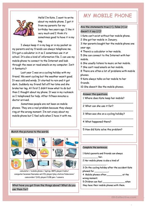 Cell Reading Comprehension Worksheet by My Mobile Phone S Technical Things Worksheet