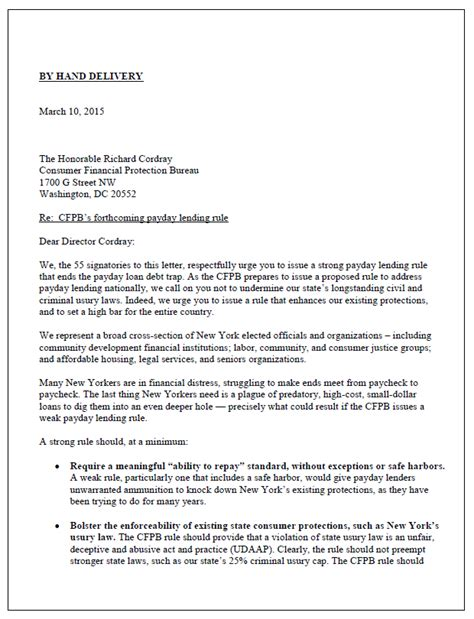 Complaint Letter To Payday Loan Company New Yorkers To Cfpb We Need A Strong Payday Lending Rule New Economy Project