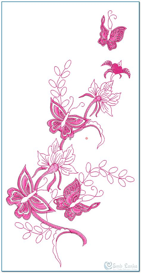 pink floral designs embroidery designs flowers and butterflies makaroka