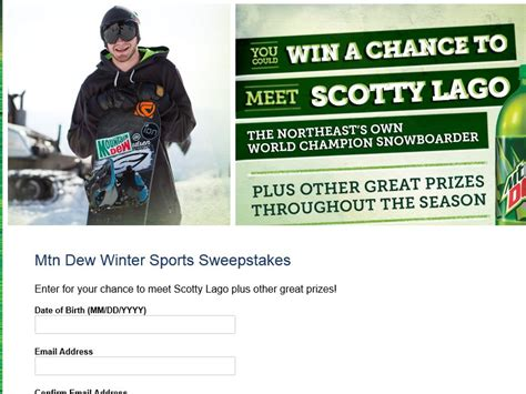 Mt Dew Sweepstakes - mountain dew winter sports sweepstakes