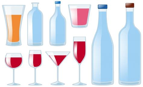 tipi di bicchieri diversi tipi di bicchieri e bottiglie scaricare vettori