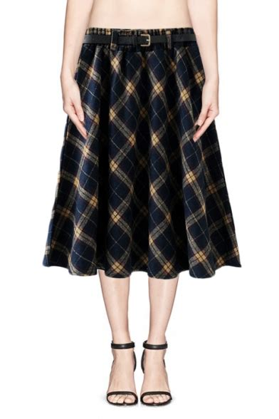 blue patterned midi skirt dark blue yellow plaid pattern a line midi skirt
