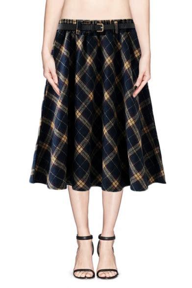 Plaid A Line Midi Skirt blue yellow plaid pattern a line midi skirt