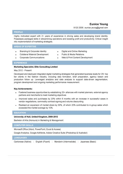 marketing specialist cv ctgoodjobs powered by career times