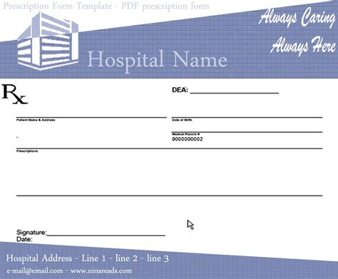 prescription form template word blank prescription pad image sle ninareads