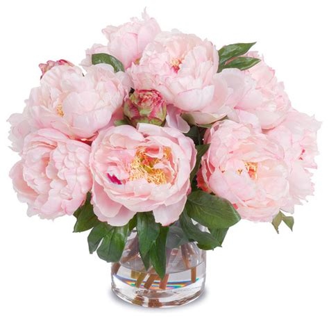 Artificial Flowers Vase by Faux Peony Bouquet With Cylinder Vase Pink