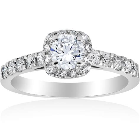 1 ct cushion halo solitaire engagement ring