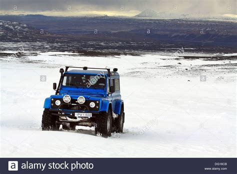 land rover iceland blue land rover heavily modified driving on glacier in