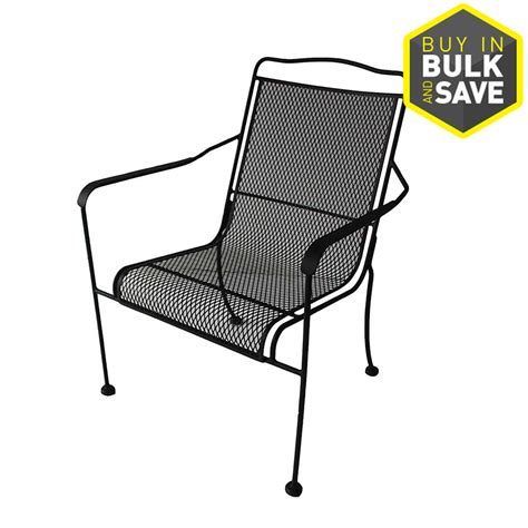 shop garden treasures vinehaven 4 count metal stackable patio dining chair with cushion s black steel stackable patio dining chair shop garden