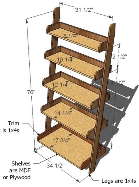 24 Ladder Bookshelf Plans Guide Patterns Ladder Bookcase Plans